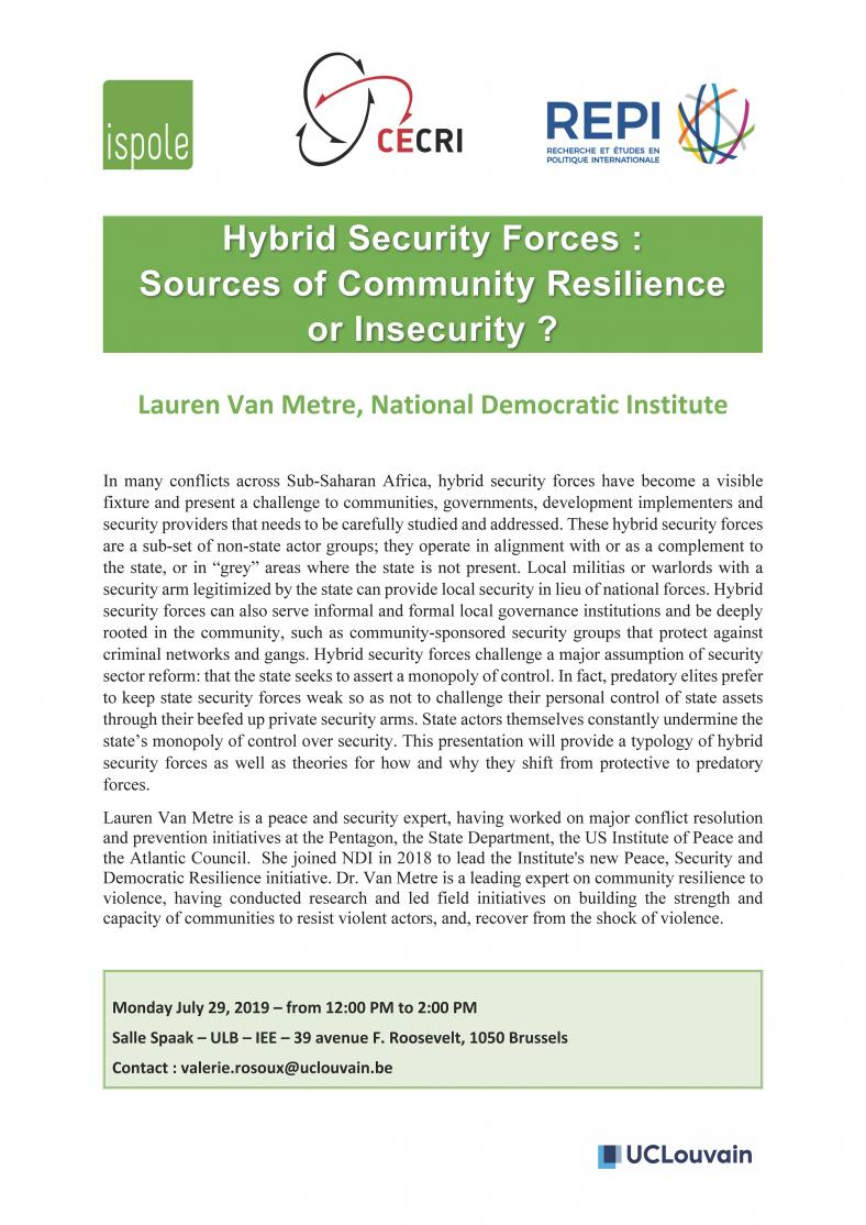 Hybrid Security Forces : Sources of Community Resilience or Insecurity?