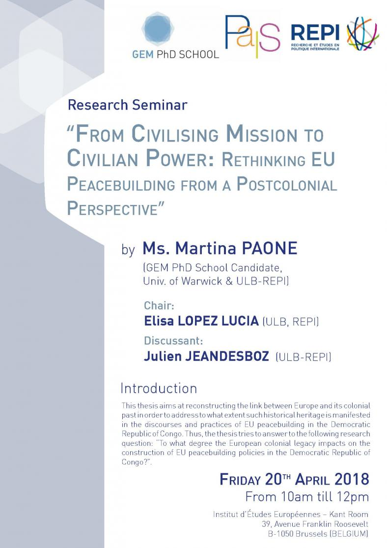 From Civilising Mission to Civilian Power: Rethinking EU Peacebuilding from a Postcolonial Perspective